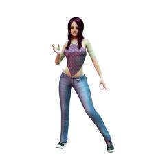Slender purple haired vampire girl