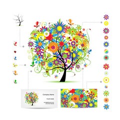 Infographic tree with funny birds. Business card template.