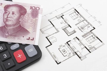 Real estate concept with Chinese money (RMB)