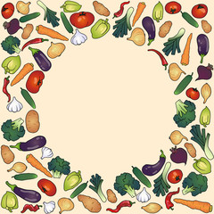frame with vegetables