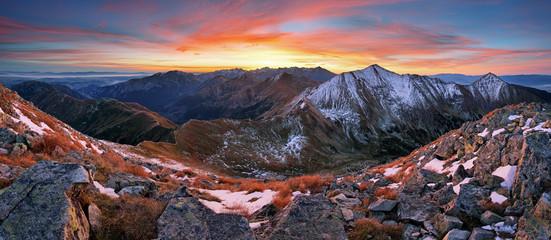 Aluminium Prints Mountains Colorful sunrise mountain landscape panorama, Slovakia