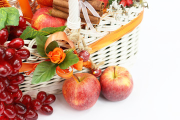 White basket and apples