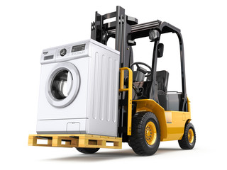 Wall Mural - Appliance delivery concept. Forklift truck and washing machine.