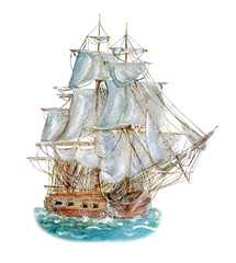 Watercolor drawing of sailing vessel