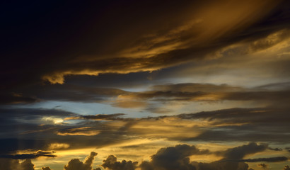 Beautiful cloudscape with sun-ray