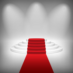 Staircase with Red Carpet, Vector Illustration.