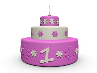 Verjaardag Cake Voor Meisje Van 3 Jaar Buy This Stock Illustration