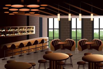 Restaurant interior with industrial look