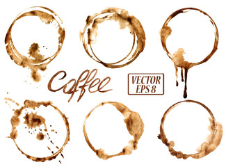 Custom blinds with your photo Watercolor coffee stains icons