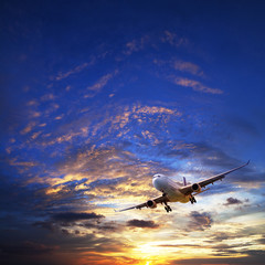 Wall Mural - Jet plane in a sunset sky