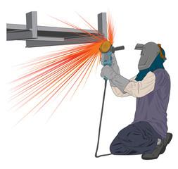 grinding worker vector