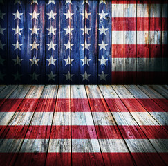 USA style background - empty wooden room for display montages