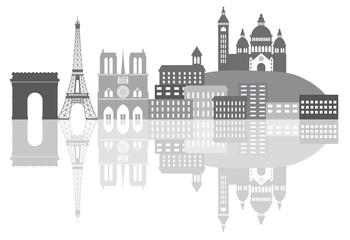 Paris France City Skyline Grayscale Vector Illustration
