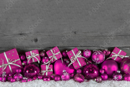 Weihnachten Holz Hintergrund Mit Dekoration In Pink