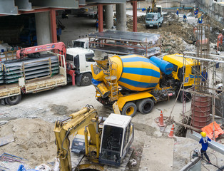 Cement truck on a working day