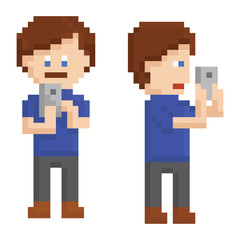 pixel art young person taking a picture on smart phone sprite,