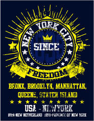 New York City Man College T shirt Graphic Design