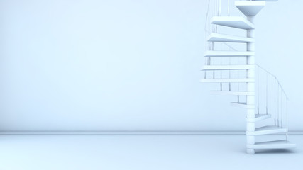empty interior with spiral staircase. 3d illustration