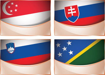 Flags illustration, Singapore, Slovakia, Slovenia, Solomon I.