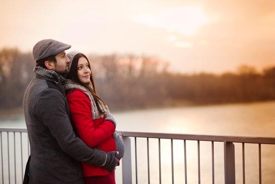 Winter pregnant couple