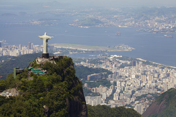 Wall Mural - Aerial view of Christ Redeemer