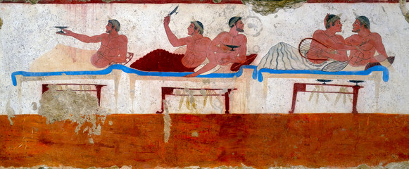 "Ancient Greek Fresco in Paestum, Italy. ""Tomb of the Diver"""