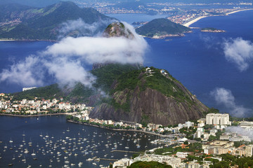 Sugarloaf Mountain and harbor, view from Christ Redeemer, Rio de