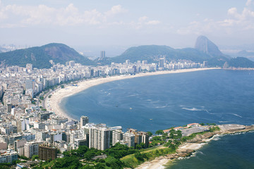 Copacabana beach in Rio de Janeiro, aerial view from helicopter