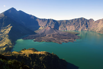 Jari Baru volcano and lake inside  Rinjani mountain, Lombok, Ind