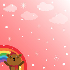 Brown bear and rainbow in the sky