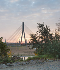 Morning view on the cable-bridge in Riga, Latvia