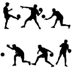 Set silhouettes of soccer players with the ball. Vector illustra