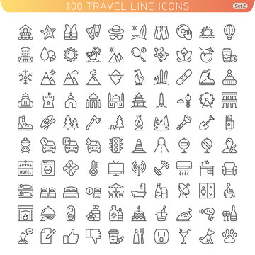 Travel Line Icons for Web and Mobile. Beach, Mountains and Hotel