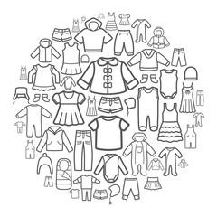 Line icons of children clothing.