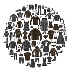 Set of Women's and  Men's Clothing icons. Accessories.