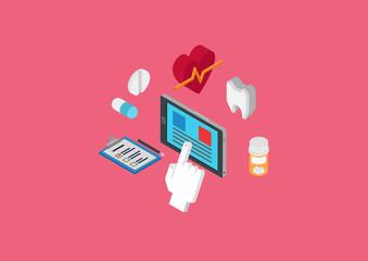 Flat 3d isometric concept web infographic medical diagnostics