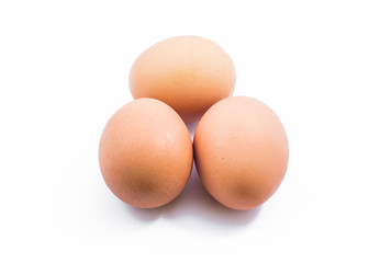 three eggs isolated
