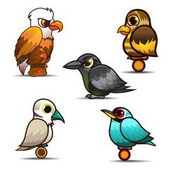 Bird cartoon set collection eps 10 vector