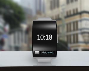 ultra-lightweight black glass bent interface smartwatch with ste