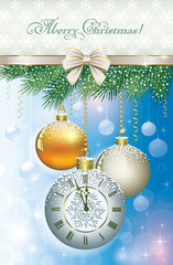 Christmas card with a clock and balls
