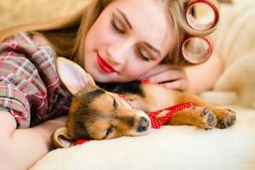sleeping beauties picture girl and her dog