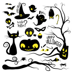 Halloween holiday vector set of characters, animals and objects