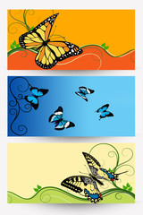 abstract banners with colored butterflies