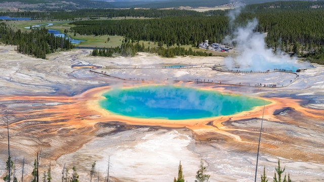 Blue hot spring, panoramic Grand Prismatic Spring, Yellowstone
