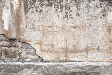 Fototapete - Old concrete wall with cracks, interior background texture