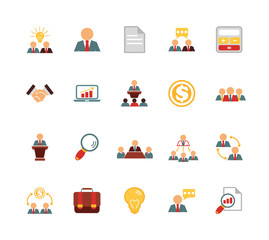Stock vector team management color pictograph icon set