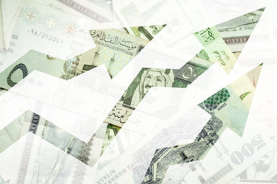 Saudi Arabia money background with growing trends arrows