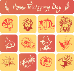 Set of 12 icons and simple linear header on Thanksgiving Day
