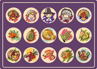 Set of 15 round icons on Thanksgiving Day in style color sketch