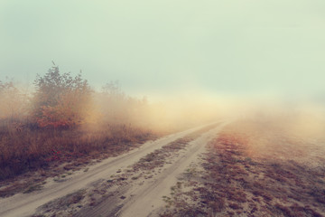 Hazy rural dirt road